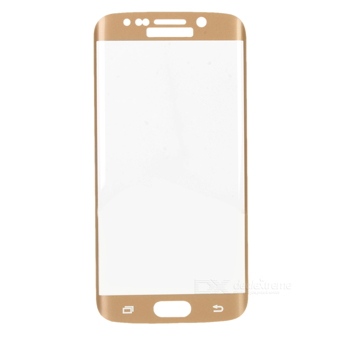 S-What 3D Arc Full Cover Tempered Glass Screen Guard Protector for Samsung S6 Edge - Gold