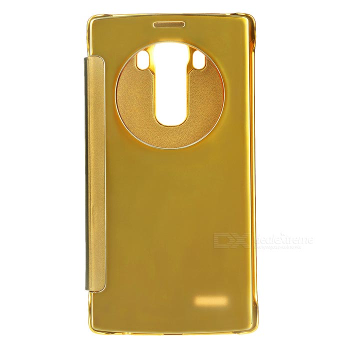 Plating Flip Open Mirror Cover ABS + PU Case for LG G4 - Golden