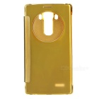 Protective Plating Flip Open Mirror Cover ABS + PU Case for LG G4 - Gold