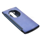 Plating Flip Open Mirror Cover ABS + PU Case for LG G4 - Dark blue