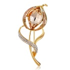 Fancy Drop Pattern Crystals Inlaid Brooch - Golden