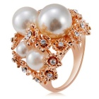 Flowers Bloom Imitation Pearl Ring - Rose Gold + White (US Size 8)
