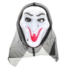 Horror Screaming Witch Mask for Halloween Masquerade Parties - White + Black + Red