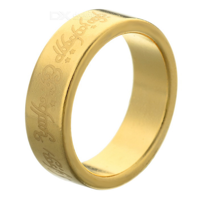 Magic Patterned Magnetic Finger Ring - Gold (Size M)Magic Supplies<br>Form ColorGoldenMaterialMagnetQuantity1 DX.PCM.Model.AttributeModel.UnitSuitable Age 12-15 years,Grown upsPacking List1 x Finger ring<br>