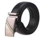 Men's Geometric Pattern Auto Buckle Belt - Black