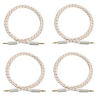 3.5mm Male to Male Audio AUX Cable - White + Golden (4PCS / 1m)