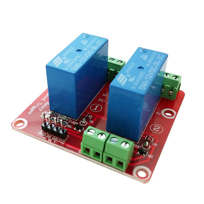 2-Channel 12V High Level Dual Power Relay Module - Red + Blue