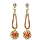 Stylish Round Crystal Dangle Earrings - Golden (Pair)