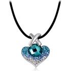 Women's Cross + Heart Shaped Crystal Decorated Pendant Necklace - Silver