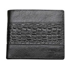 Men's Stylish Top Layer Cowhide Purse Wallet - Black