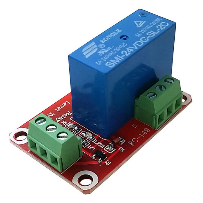 1-Channel 24V Low Level Dual Power Relay Module - Red + Blue
