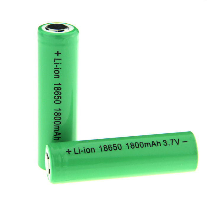 3.7V 1800mAh 18650 Li-ion Rechargeable Battery - Green + Black (2 PCS)