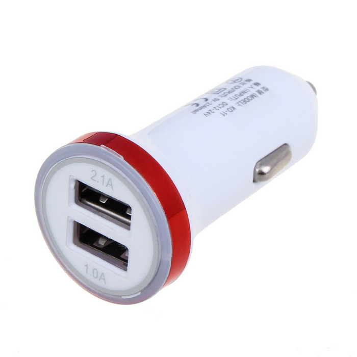 2.1A Dual USB Universal Car Charger Adapter - White + Red (12~24V)