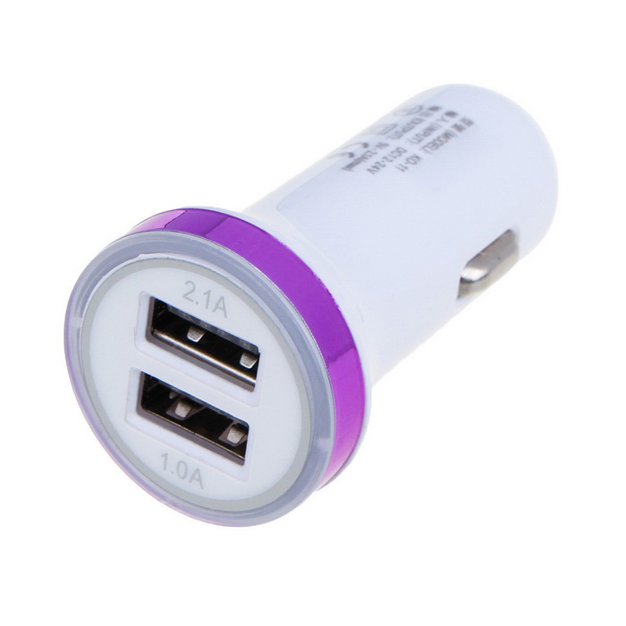 2.1A Dual USB Universal Car Charger Adapter - White + Purple (12~24V)