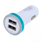 2.1A Double USB Universal Quick Car Charger Adapter - White + Sky Blue (12~24V)