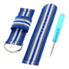 Replacement Nylon Watch Band w/ Screwdriver for APPLE WATCH 42mm - Blue + Grey