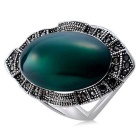 Retro Imitation Emerald Studded Ring for Women - Silver (US Size: 8)