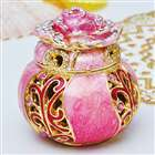 Deluxe Flower Bud Style Jewelry Box - Pink + Gold