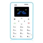"AIEK X6 Quad Band 4.5mm Ultra Thin Pocket Mini Card Mobile Phone w/ 1.4"" Screen / FM - Blue"