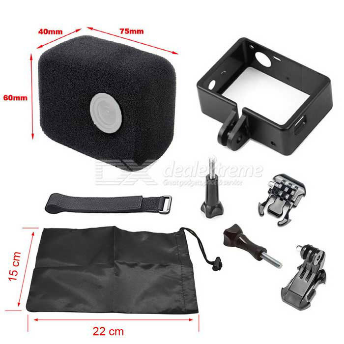 Frame Case, Wind Noise Reducing Foam Cover, Velcro Belt Kit for GoPro