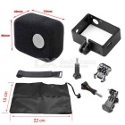 Plastic Fixed Frame Case + Wind Noise Reducing Foam Cover + Velcro Belt Kit for GoPro Hero 4/3+/3
