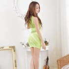Women's Sexy Mesh Sleeveless Underwear Sleepwear - Fluorescent Green