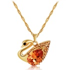 Xinguang Beautiful Duck Design Crystal Pendant Necklace - Golden