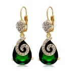 Gyraulus Green Crystal Earrings - Golden (Pair)