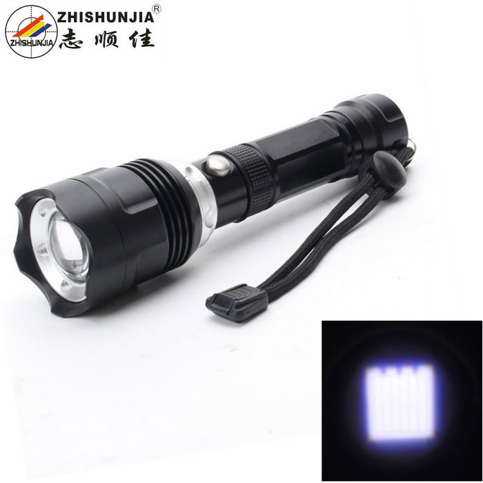ZHISHUNJIA HW30-T6 5-Mode White Zooming Flashlight - Black + Silver