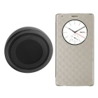 Qi Wireless Charger Transmitter +  PU Flip Case Receiver w/ View Window /NFC for LG G4 - Gold +Black