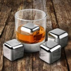 Wine Whiskey Drink Chiller Stones Rocks / Ice Cubes - Silver (4PCS)