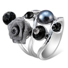Creative Shaped Pearl Rose Crystal Ring - Silver (US Size 8)