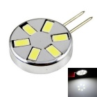 LED G4 3W 240lm 6000K 6-5730 SMD White Light Circular Corn Light - Silver + Black (12V)