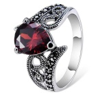 Simple Crystal Inlaid Finger Ring for Women - Red + Silver (US Size 8)