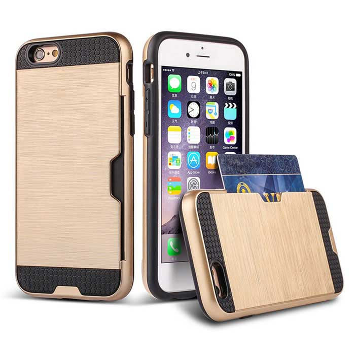 TPU + PC Case w/ Card Slot for IPHONE 6 / 6S - Champagne Golden