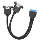 CY U3-162-BK USB 3.0 Dual Ports Female Screw Mount Type to Motherboard 20pin Head Cable - Black