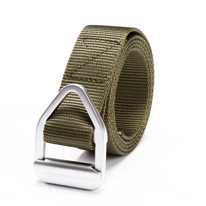 Tactical Triangular Metal Buckle Outdoor Nylon Belt - Army Green