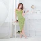 Sexy Lace Halter Spandex Nightclub Pajamas - Green