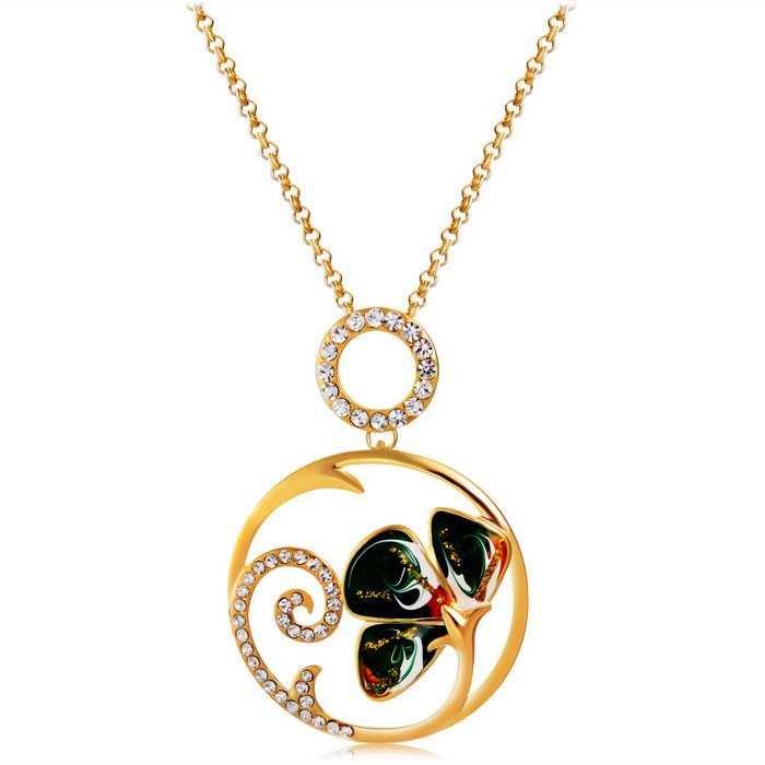 Xinguang Classic Petal Oil Painting Necklace - Golden