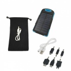 Outdoor Camping 5000mAh Solar Power Bank w/ LED Light - Blue + Black