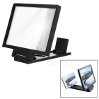"8.2"" 2~3X Magnification Foldable Anti-Radiation 3D Video Screen HD Magnifier w/ Phone Holder - Black"