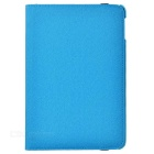 Cwxuan Rotatable Protective PU Case w/ Stand / Card Slots / Auto Sleep for IPAD Mini 4 - Light Blue
