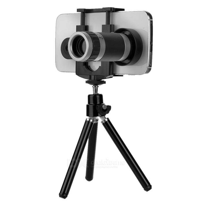 Clip-on 8X Phone Telescope for IPHONE 6/6 PLUS + Xiaomi + More - BlackLens &amp; Microscopes<br>Form ColorBlackQuantity1 DX.PCM.Model.AttributeModel.UnitMaterialAluminum alloy + plasticShade Of ColorBlackCompatible ModelsIPHONE / Samsung / Xiaomi / HTC / Huawei and other smartphonesLens EffectsTelescopeMagnification8XPacking List1 x Telescope1 x Tripod1 x Phone clip (5.5~8cm adjustable)1 x Strap (40cm)2 x Cleaning cloths<br>