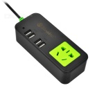 Mosidun 4-USB Ports + Socket Charger for Cellphone / Tablet PC - Black