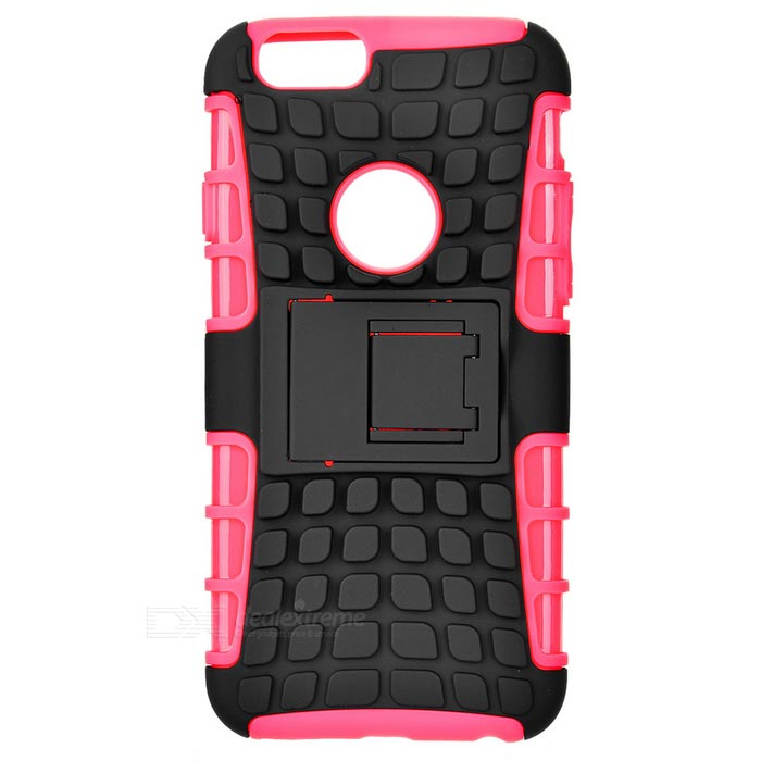 ABS Back Cover Armor Case w/ Stand for IPHONE 6S - Deep Pink + Black