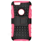 Protective ABS Back Cover Armor Case w/ Stand for IPHONE 6S - Deep Pink + Black