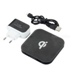 Qi Wireless Charger + EU Plug 3-USB Port Power Adapter Set - Black