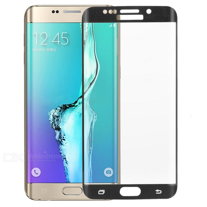 S-What 3D Arc Full Cover Tempered Glass Screen Protector Guard for Samsung S6 Edge Plus - Black
