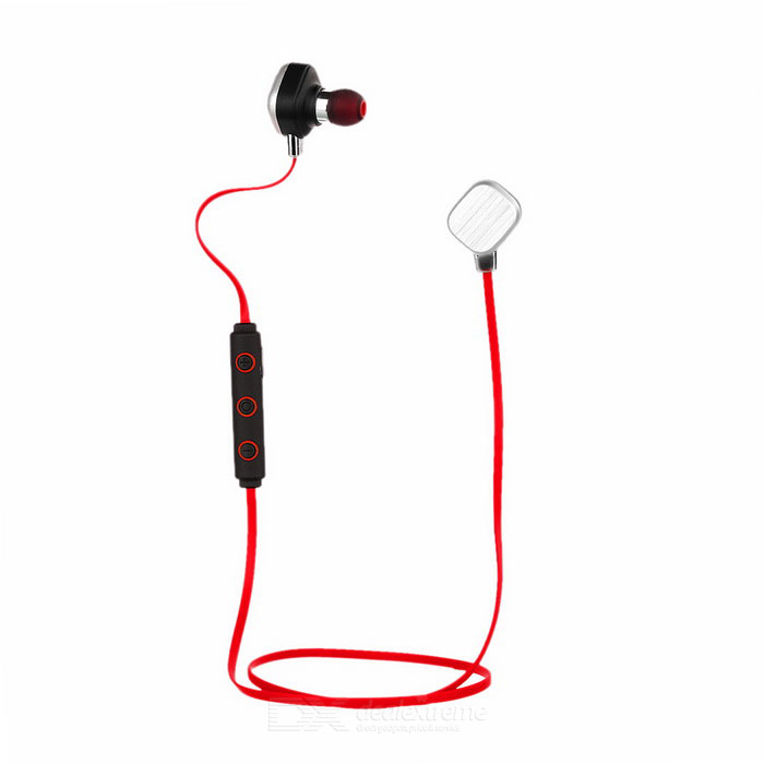 Bluetooth In-Ear Flat Earphones w/ Mic. - Red+Silver+MulticolorHeadphones<br>Form  ColorRed + Silver + Multi-ColoredMaterialTPEQuantity1 DX.PCM.Model.AttributeModel.UnitShade Of ColorRedEar CouplingIn-EarBluetooth VersionOthers,Bluetooth V4.1Operating RangeWithin 10mMicrophoneYesSupports MusicYesConnects Two Phones SimultaneouslyYesApplicable ProductsUniversalStandby Time200 DX.PCM.Model.AttributeModel.UnitPacking List1 x Earphones (62cm cable)1 x Micro USB flat charging cable (30cm)1 x Pair of big earbuds1 x Pair of small earbuds2 x Silicone ear caps1 x English user manual<br>
