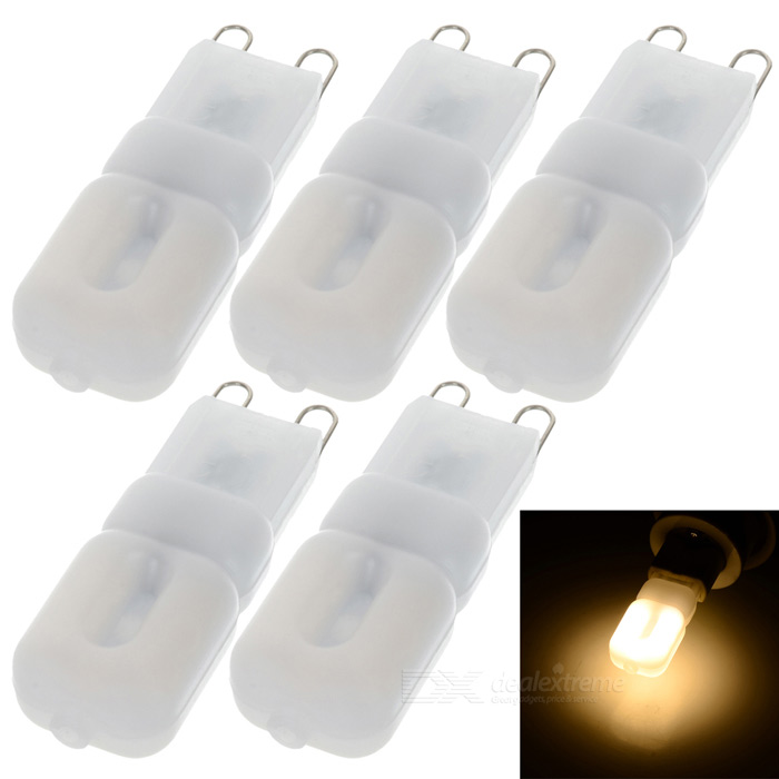 JRLED G9 3W LED lámpara de luz blanca caliente 3300K 14-SMD - blanco (5PCS)